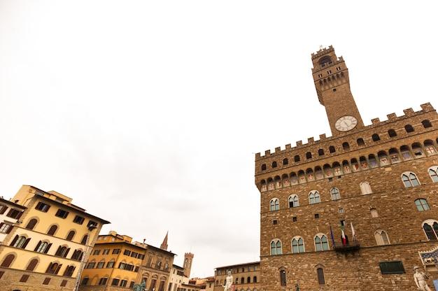 피렌체, 이탈리아의 piazza della signoria에있는 베키오 궁전