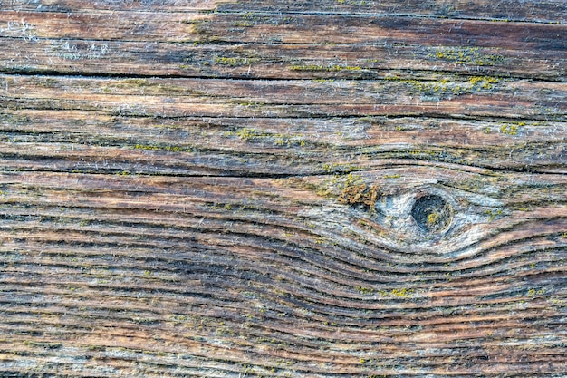 창백한 갈색과 시원한 파란색 재생 소나무 목재 표면에 오래된 보드가 늘어서 있습니다.