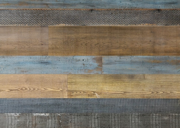 Pale faded brown and cool blue reclaimed wood surface