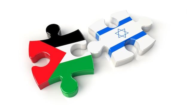 Флаги палестины и израиля на кусочках головоломки. концепция политических отношений. 3d рендеринг