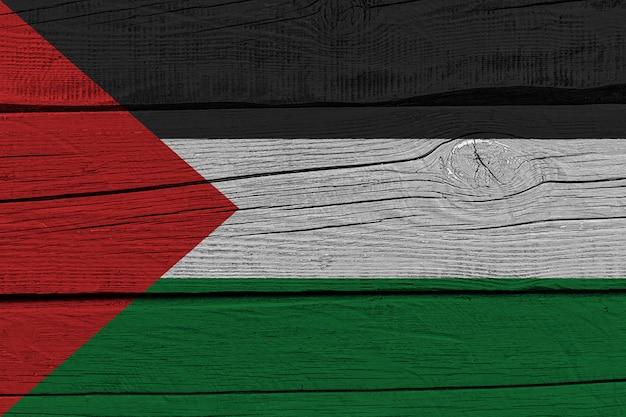Palestine flag painted on old wood plank