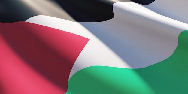 Флаг палестины простой размахивая крупным планом премиум фото