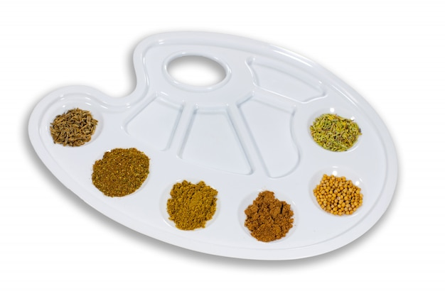 Palette of taste with spices.