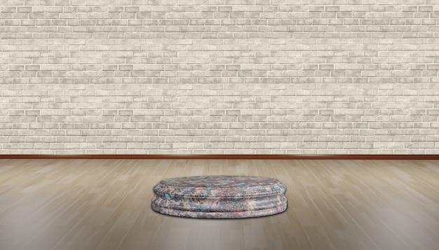 寄木細工の床のパレットベースと空の部屋のレンガの壁の円パレットの背景3dイラスト