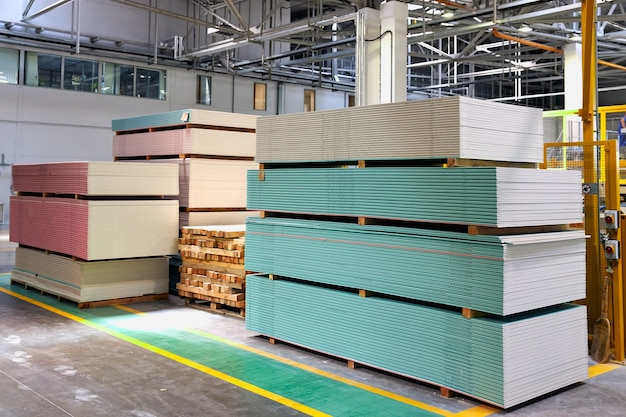 Pallet with plasterboard in the building store