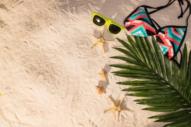 Palm leaf sunglasses and swimsuit on beach