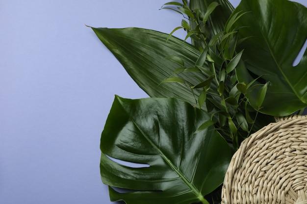 Пальмовые листья и соломенный мешок на фиолетовом изолированном фоне