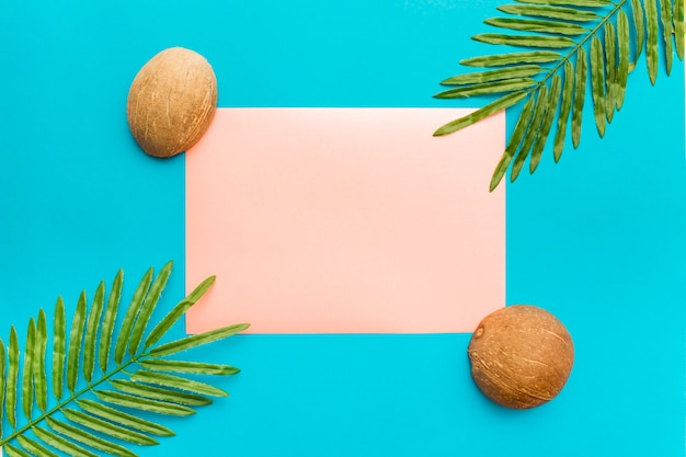 Palm leaves and coconuts with copy space for text