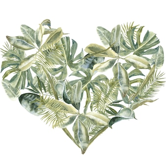 Palm leaves heart shape. dust greenery, tropical leaves frame. exotic floral wreath. flowers border