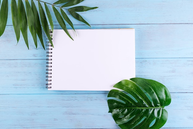 Palm leaves and a paper notebook with free space for text on blue wooden background.