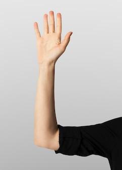 手のひらが目に見えない画面の手のジェスチャーに触れる