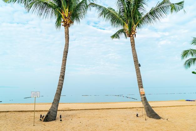Palm tree on beach with sea  and cloudy sky
