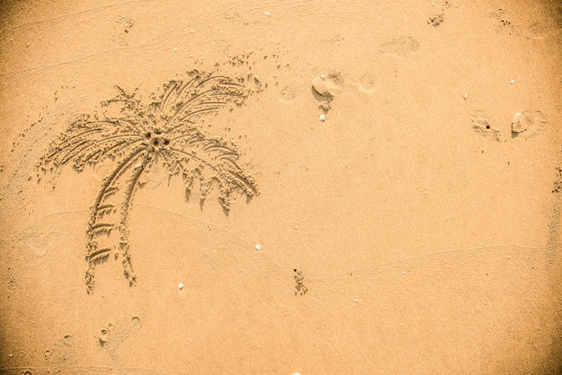 Пальма, нарисованная в песке