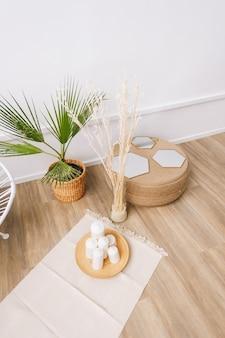 Пальма в горшке и элементы декора из ротанга. экологичный дизайн интерьера гостиной в современном доме.