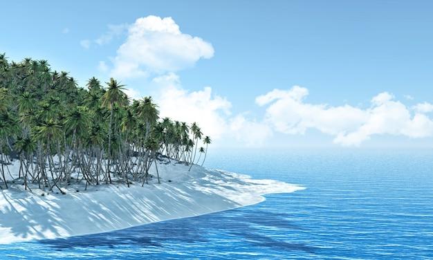 Остров пальм на фоне голубого неба с пушистыми белыми облаками