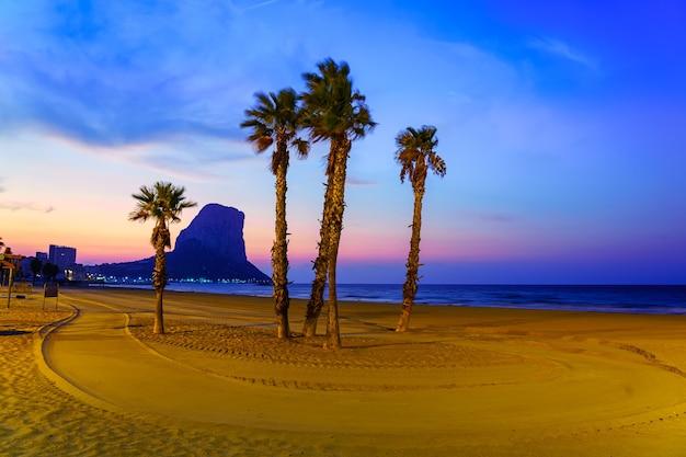 カルペアリカンテの岩の横にある日没時のビーチのヤシの木。