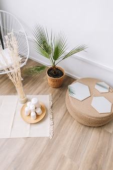 Palm tree in a pot and rattan decoration elements. eco friendly interior design of living room in modern house.