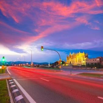 Palma de mallorca cathedral seu sunset majorca