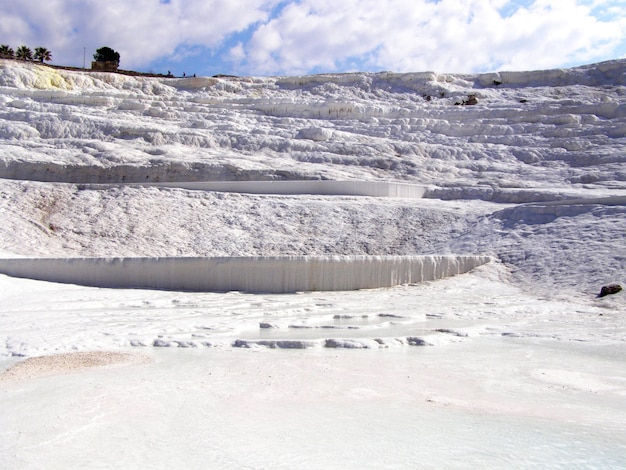 Pamukkale termal waters with the white rocks.