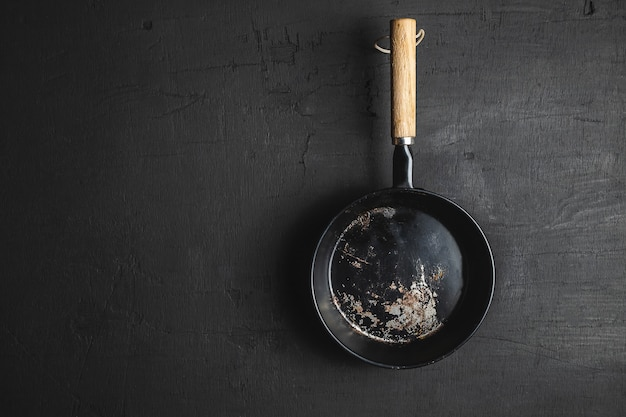 A pan for cooking on a black background