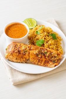 Тандури из обжаренного лосося с рисом масала - мусульманский стиль еды