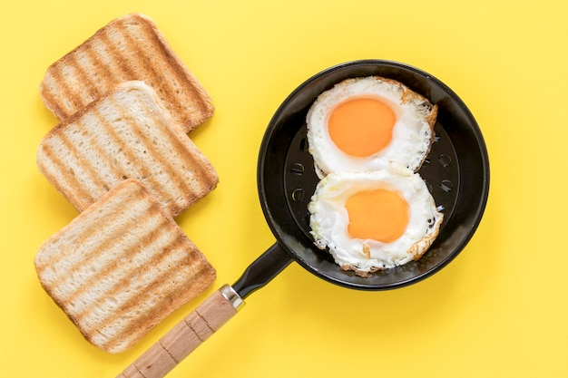 Pan with fried eggs and toast