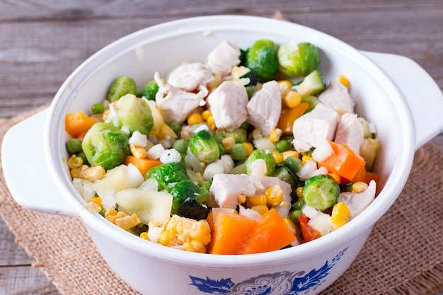 Pan with frozen vegetable mix for frying