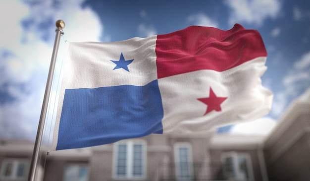 Panama flag 3d rendering on blue sky building background