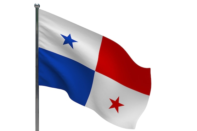 극에 파나마 플래그입니다. 금속 깃대. 화이트에 파나마 3d 그림의 국기
