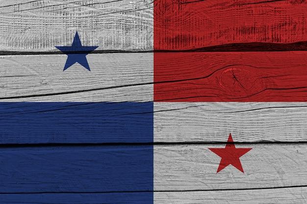 Panama flag painted on old wood plank