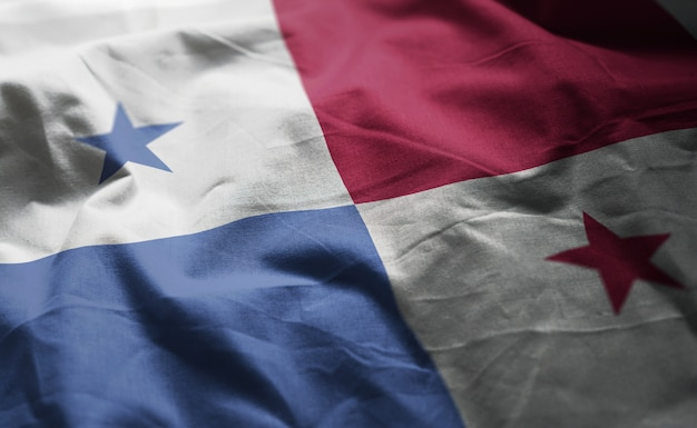 Panama flag rumpled close up