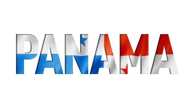白い背景の上のパナマの旗のタイトル
