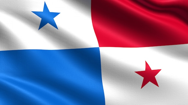 Panama flag, with waving fabric texture