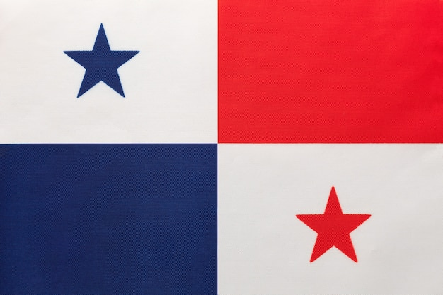 Panama national fabric flag with emblem, textile background, symbol of international world south america country,