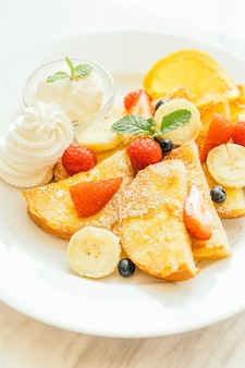 Pancake and Bread toast with mixed fruit