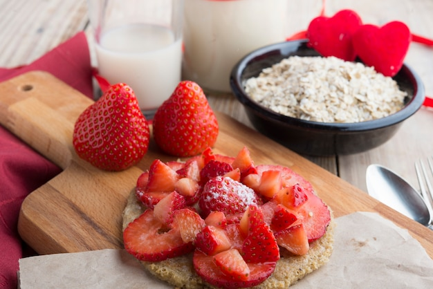Pancake of oats with strawberry for special day
