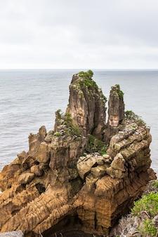 Pancake rocks cliffs of paparoa national park 남섬 뉴질랜드