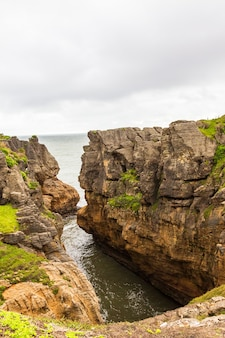 팬케이크 바위 태즈 만 해 남섬 뉴질랜드의 전망