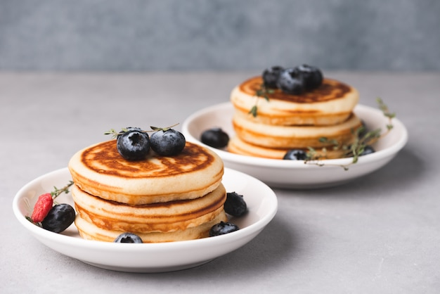 Pancake with blue berry food background