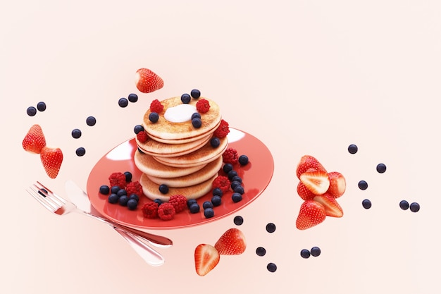 Pancake with blueberry and strawberry in the plate on pink pastel 3d render