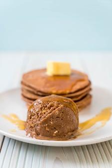 Pancake with chocolate ice-cream