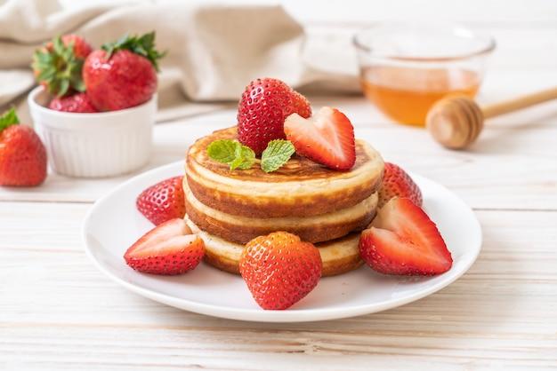 Pancake with fresh strawberries