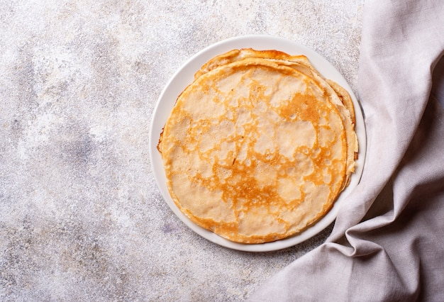 Pancakes crepes on light