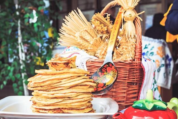 Pancakes freshly baked at shrovetide