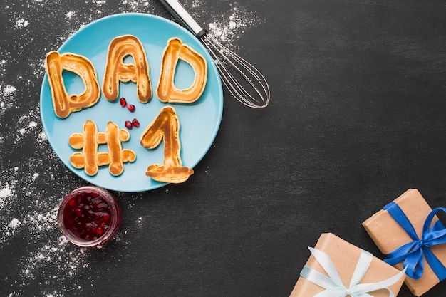 Pancakes and gifts for father's day