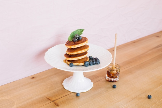 Pancakes in stack served for breakfast