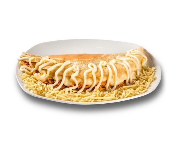 パンケーキは鶏の胸肉とチーズを詰めました。浅い被写界深度。