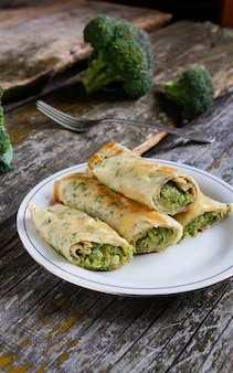 Pancakes stuffed with broccoli and cheese