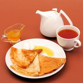 蜂蜜とお茶のパンケーキ。