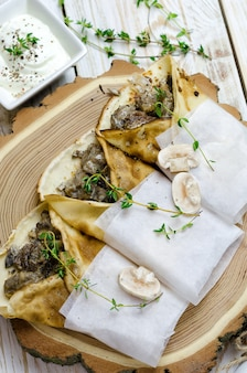 Pancakes with mushrooms and thyme
